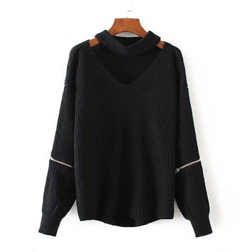 Black Choker V Neck Zipper Detail Sweater