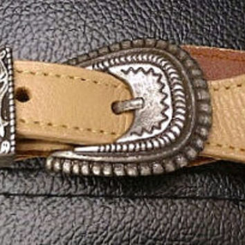 tan leather  handmade womans cowboy belt