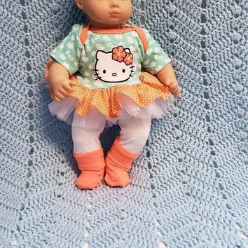 "15 inch Baby doll outfit ""Tropical Kitty""  Will fit Bitty Baby® Cabbage Patch® dress shorts socks headband"