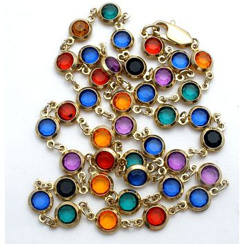 Multi Color Channel Set Rhinestone Necklace 22""