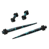 Acrylic Teal & Black Crackle Micro Taper & Plug 4 Pack