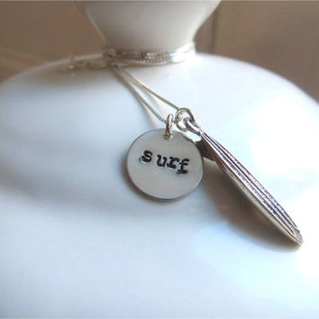 """Surf necklace with sterling silver hand stamped """"surf"""" charm and surf board charm"""