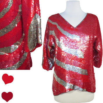 Top Vintage 80s RED Silver SEQUIN Metallic Trophy Crop Top M L Elbow Length Party OS Shirt