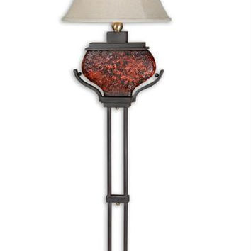 Floor Lamp - Textured Ceramic Body With Molten Red Glaze And Bronze Metal Details