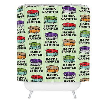 Andi Bird Happy Camper Green Shower Curtain