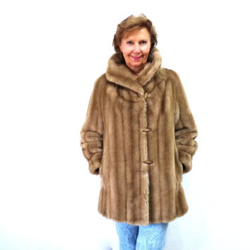 Vintage 80s Faux Fur Coat Dubrowsky & Perlbinder Exlusively Styled Tissavel made in France Medium