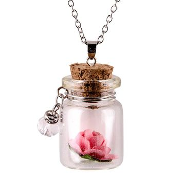 Glow in the Dark Flower in Tiny Glass Wishing Bottle Vial Pendant with Chain