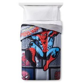 Jump Kick Comforter (20X11X12) Black - Spiderman®