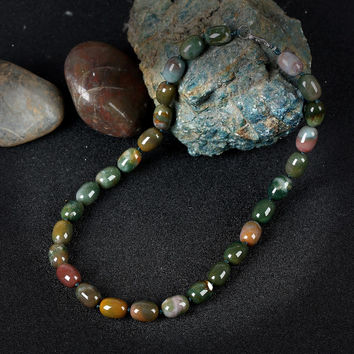 Indian Natural Green Stone Choker Necklace Semi-Precious Stones Handmade Jewelry Vintage Necklaces For Women