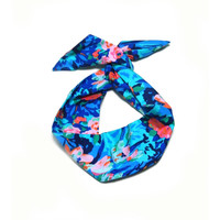 Blue Abstract Floral Wire Headband Dolly Bow Knot Headband by All Things in Color