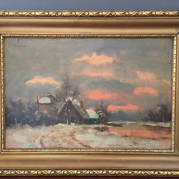 Antique Oil Landscape, Sunset Snow Painting, Oil on Wood Panel Painting Signed, Vintage Frame, 16 x 23.5 Inches Image, Art Collectible