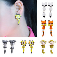 New Hot 100% Handmade Polymer Clay Cute Cat Red Fox Lovely Dog Soldier Mouse Tiger Animal Stud Earrings Ear Stud Jewelry Brincos
