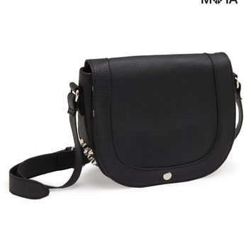 Aeropostale  Studded Faux Leather Crossbody Bag - Black