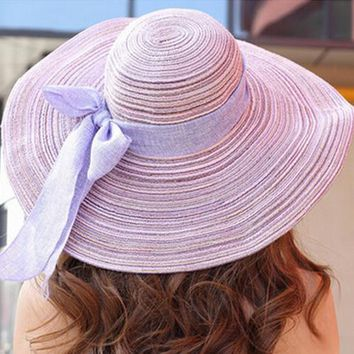 Fashion Summer Hats for Women Outdoor Large Beach Straw Hat With Bowtie 2015 Newest Casual Woman's Sun Caps