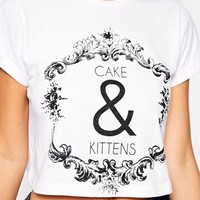 ASOS PETITE Exclusive Rolled Sleeve Crop Top With Cake and Kittens Print