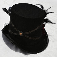 Velveteen Top Hat with Feather and Lace train
