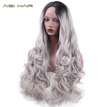 AISI HAIR  Synthetic Lace Front Wigs  Ombre  Silver Gray Long Wavy Wig for  Women Black Head Wave Hair