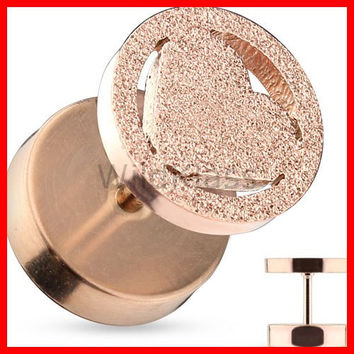 Fake Plug Heart Rose Gold 316L Surgical Steel