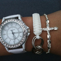 Silver and White Collection of 3 Chunky Watch and Bracelets Stack