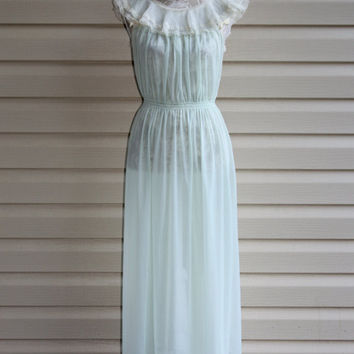 50s Sheer Sea Foam Nightgown Lingerie Made USA Gilbreath Co. Vintage Romantic Feminine Wedding