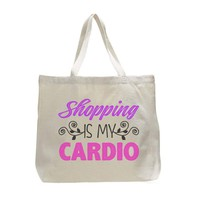 Shopping Is My Cardio Tote Grocery Bag - Trendy Natural Canvas Bag - Funny and Unique - Tote Bag