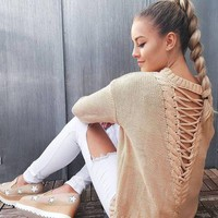 Long Sleeve Knit Tops Winter Hollow Out Sweater