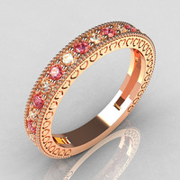 Lovables Luxury Collection 18K Rose Gold .27 ctw Diamond .24 ctw Rose Topaz Stackable Ring RB72-18KRGDRT