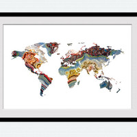 World map poster World map print World map watercolor poster Map colorful print Home decoration Office wall art World map wall decor W435