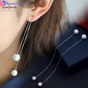 Silver Plated Simulated  Pearl Drop Long Chain Tassel Earrings