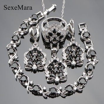 Queen Valentine's day Black Cubic Zirconia 925 Sterling Silver Jewelry Sets For Women Earrings/Pendant/Necklace/Rings/Bracelet