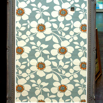 Large Vintage Wood Frame, Hand-painted Grey Chalk Paint, Fabric Covered Magnetic Metal Board