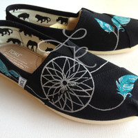 dream catcher -you chose the colors- hand painted on TOMS shoes-made to order
