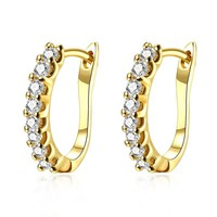BuycitKy 14K Yellow / White Gold Plated Cubic Zriconia Hoop Earrings for Women Girls Fashion Earrings Studs Set, with PU Jewelry Pouch