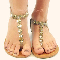 Tully Hill Taupe Rhinestone Sandal-OUT OF BOX
