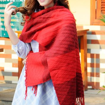 Red Tassel Winter Warm Scarf Cape Wrap Shawl