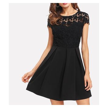 Black Cap Sleeve Tie Back Crochet Lace Skater Dress