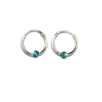 Sterling Silver Color CZ Cubic Zirconia Small Hoop Earrings