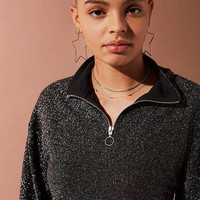 UO Mock-Neck Shimmer Long Sleeve Top | Urban Outfitters