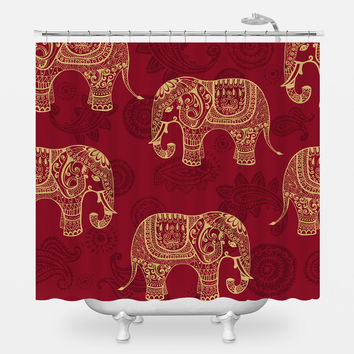 Paisley Elephants Shower Curtain
