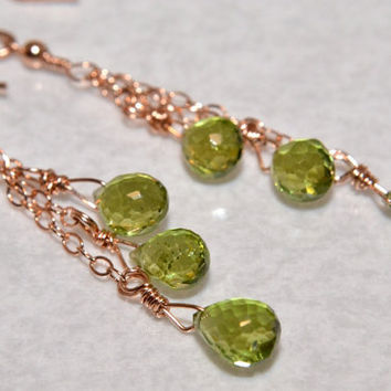 Peridot Earrings, Rose Gold Wire Wrapped,  Chain Dangle Earrings,  AAA Gemstone Earrings,  August Birthstone, Handmade, Happycat2