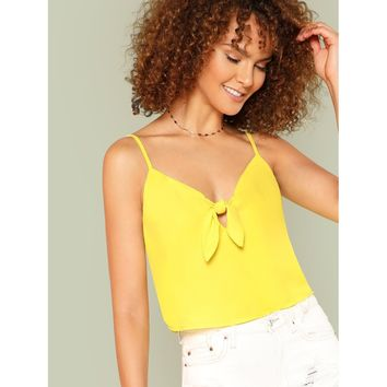 Knot Front Cami Top Yellow