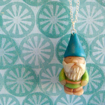 Garden Gnome Necklace  Blue and Green Polymer Clay by JustClayin