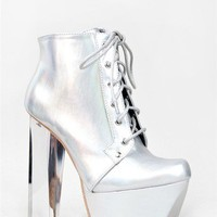 NEW QUPID Women Clear Lucite Heel Lace Ankle Boot Booty Silver Holograph Monte01