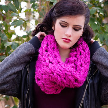 Arm Knit Cowl, Chunky Knit Cowl, Hot Pink Cowl, Super Chunky