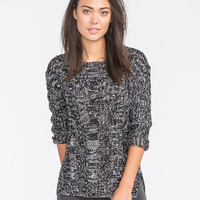 POOF EXCELLENCE Marled Cable Knit Sweater 249263125   Boho Grunge
