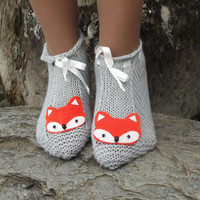 Fox Slippers Knit House Slipper, Home Slippers, Womens Crochet Shoes, Home shoes
