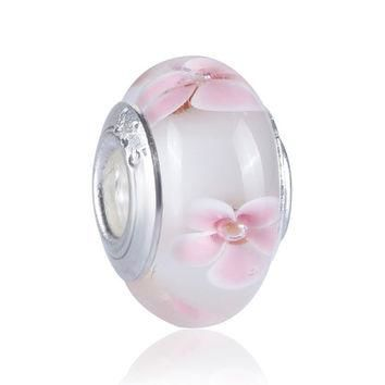 High Quality Silver Plated Bead Charm Pink Cherry blossom Lampwork Murano Glass Beads