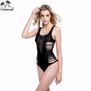 Queenral one piece Bra monokini Hollow Out Beach wear  bathing suits departure Beach cut out  Swimsuit Female