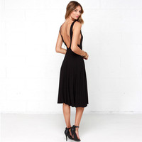V Shape Back Sleeveless Mid Dress