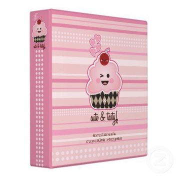 Kawaii Cute & Tasty Cupcake Avery Binder from Zazzle.com